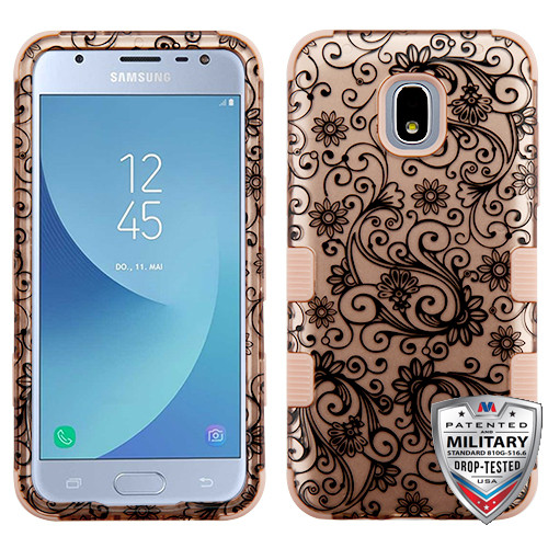 MyBat TUFF Hybrid Protector Cover [Military-Grade Certified] for Samsung J337 (Galaxy J3 (2018)) - Black Four-Leaf Clover (2D Rose Gold) / Rose Gold