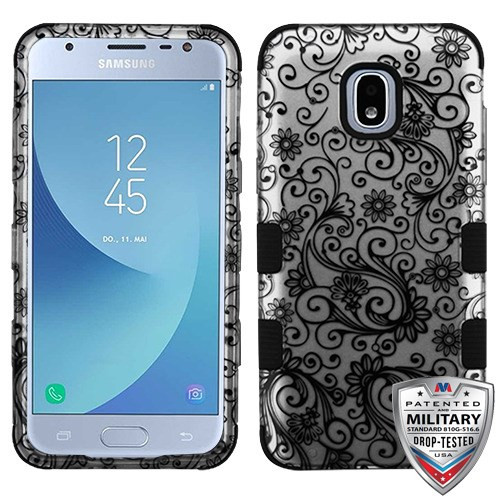 MyBat TUFF Hybrid Protector Cover [Military-Grade Certified] for Samsung J337 (Galaxy J3 (2018)) - Black Four-Leaf Clover (2D Silver) / Black