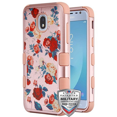 MyBat TUFF Hybrid Protector Cover [Military-Grade Certified] for Samsung J337 (Galaxy J3 (2018)) - Red and White Roses Textured Rose Gold / Rose Gold