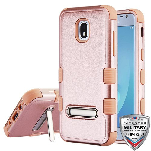 MyBat TUFF Hybrid Protector Cover (with Magnetic Metal Stand)[Military-Grade Certified] for Samsung J337 (Galaxy J3 (2018)) - Textured Rose Gold / Rose Gold