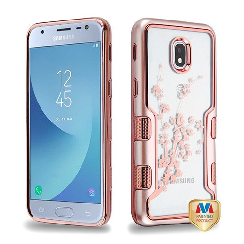 MyBat TUFF Panoview Hybrid Protector Cover for Samsung J337 (Galaxy J3 (2018)) - Metallic Rose Gold / Electroplating Rose Gold Spring Flowers (Transparent Clear)
