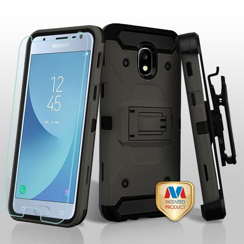 MyBat 3-in-1 Kinetic Hybrid Protector Cover Combo (with Black Holster)(Tempered Glass Screen Protector) for Samsung J337 (Galaxy J3 (2018)) - Dark Grey / Black