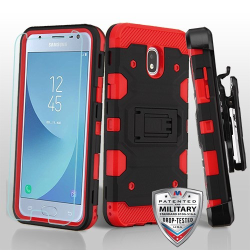 MyBat 3-in-1 Storm Tank Hybrid Protector Cover Combo (with Black Holster)(Tempered Glass Screen Protector)[Military-Grade Certified] for Samsung J337 (Galaxy J3 (2018)) - Black / Red