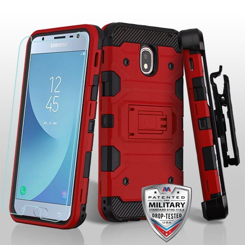 MyBat 3-in-1 Storm Tank Hybrid Protector Cover Combo (with Black Holster)(Tempered Glass Screen Protector)[Military-Grade Certified] for Samsung J337 (Galaxy J3 (2018)) - Red / Black