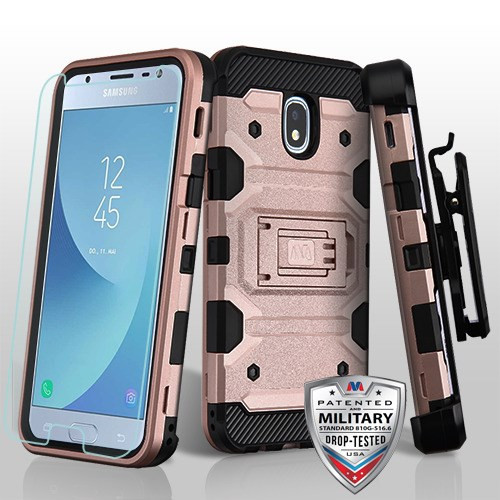MyBat 3-in-1 Storm Tank Hybrid Protector Cover Combo (with Black Holster)(Tempered Glass Screen Protector)[Military-Grade Certified] for Samsung J337 (Galaxy J3 (2018)) - Rose Gold / Black