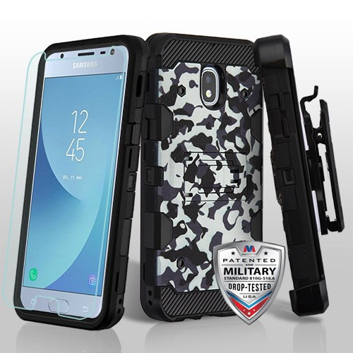 MyBat 3-in-1 Storm Tank Hybrid Protector Cover Combo (with Black Holster)(Tempered Glass Screen Protector)[Military-Grade Certified] for Samsung J337 (Galaxy J3 (2018)) - Urban Camouflage / Black