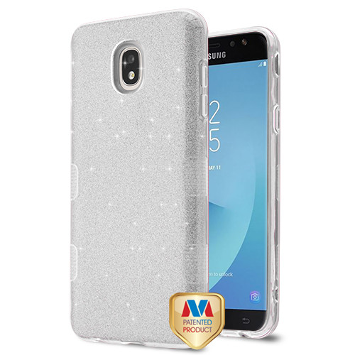 MyBat Full Glitter TUFF Hybrid Protector Cover for Samsung J737P (Galaxy J7 (2018)) - Silver