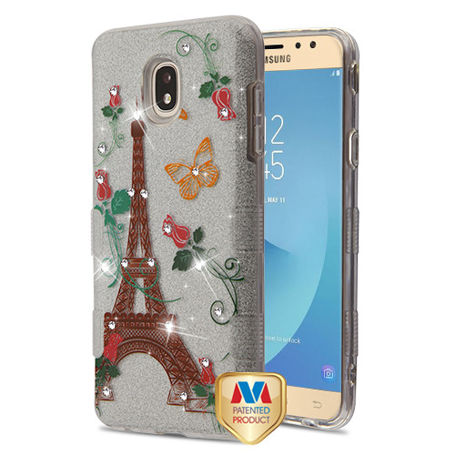 MyBat Full Glitter TUFF Hybrid Protector Cover for Samsung J737P (Galaxy J7 (2018)) - Paris Monarch Butterflies Diamante