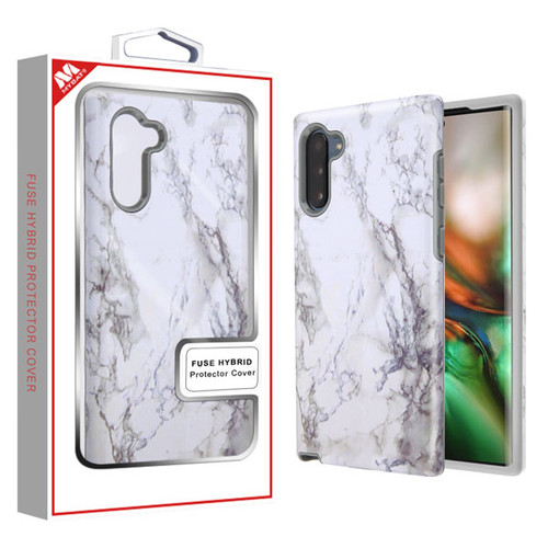 MyBat Fuse Hybrid Protector Cover for Samsung Galaxy Note 10 (6.3) - White Marbling / Iron Gray