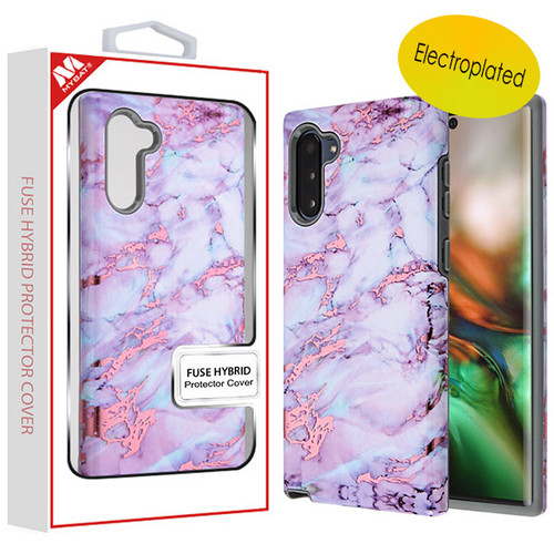 MyBat Fuse Hybrid Protector Cover for Samsung Galaxy Note 10 (6.3) - Electroplated Purple Marbling / Iron Gray