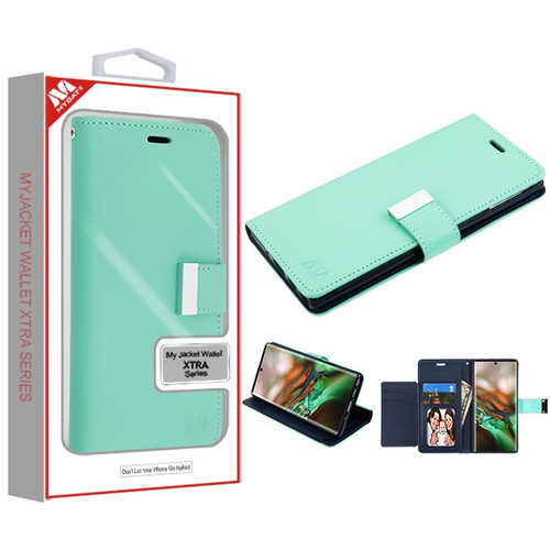 MyBat MyJacket Wallet Xtra Series for Samsung Galaxy Note 10 (6.3) - Teal Green / Dark Blue