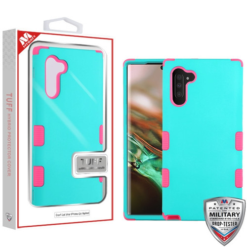 MyBat TUFF Hybrid Protector Cover [Military-Grade Certified] for Samsung Galaxy Note 10 (6.3) - Rubberized Teal Green / Electric Pink