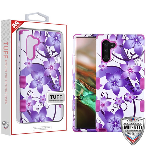 MyBat TUFF Hybrid Protector Cover [Military-Grade Certified] for Samsung Galaxy Note 10 (6.3) - Purple Hibiscus Flower Romance / Electric Purple