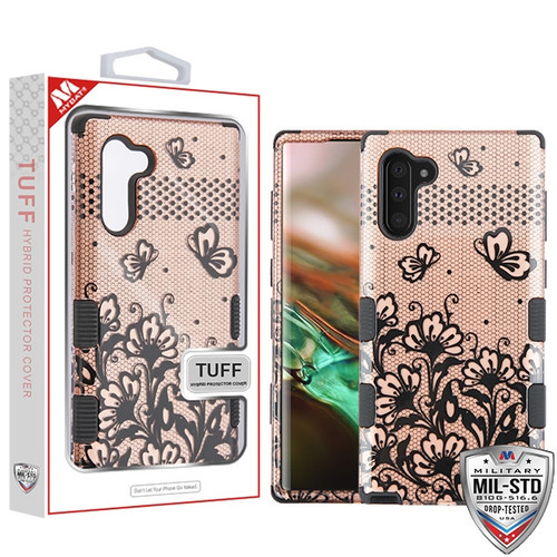 MyBat TUFF Hybrid Protector Cover [Military-Grade Certified] for Samsung Galaxy Note 10 (6.3) - Black Lace Flowers (2D Rose Gold) / Black