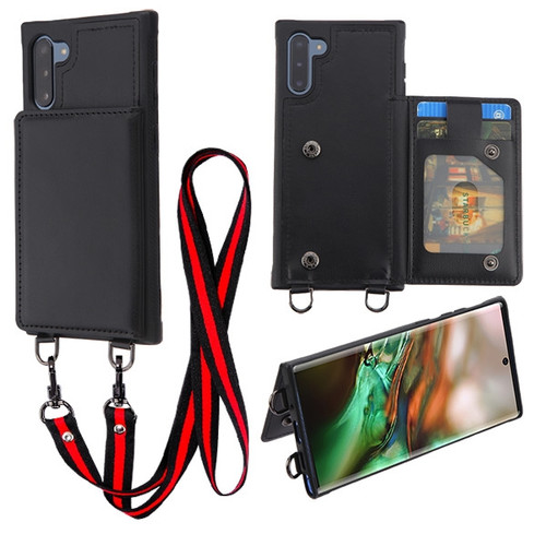 MyBat Suspend Wallet Cover (with Snap Fasteners)(with Lanyard) for Samsung Galaxy Note 10 (6.3) - Black