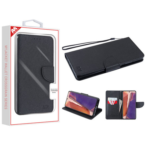 MyBat Liner MyJacket Wallet Crossgrain Series for Samsung Galaxy Note 20 - Black Pattern / Black