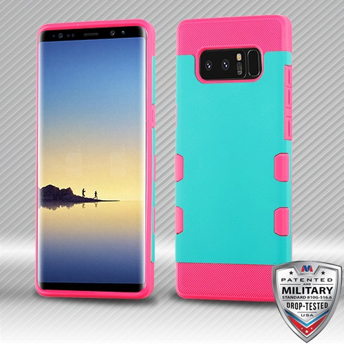 MyBat TUFF Trooper Hybrid Protector Cover [Military-Grade Certified] for Samsung Galaxy Note 8 - Rubberized Teal Green / Electric Pink