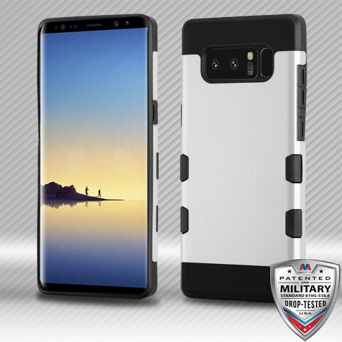MyBat TUFF Trooper Hybrid Protector Cover [Military-Grade Certified] for Samsung Galaxy Note 8 - Rubberized Space Silver / Black