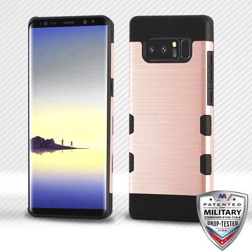 MyBat Brushed TUFF Trooper Hybrid Protector Cover [Military-Grade Certified] for Samsung Galaxy Note 8 - Rose Gold / Black