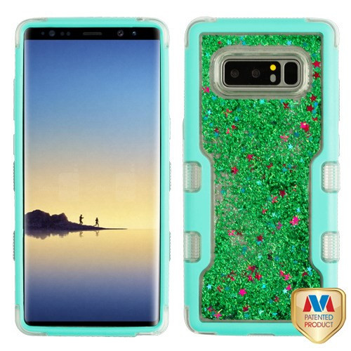 MyBat TUFF Quicksand Glitter Hybrid Protector Cover for Samsung Galaxy Note 8 - Natural Teal Green / Green Sparkles Liquid Flowing