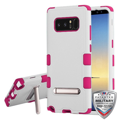 MyBat TUFF Hybrid Protector Cover (with Magnetic Metal Stand)[Military-Grade Certified] for Samsung Galaxy Note 8 - Natural Cream White / Hot Pink