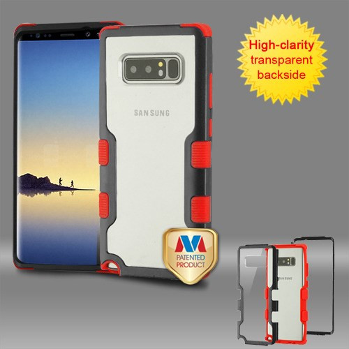 MyBat TUFF Vivid Hybrid Protector Cover for Samsung Galaxy Note 8 - Natural Black Frame+Transparent PC Back / Red