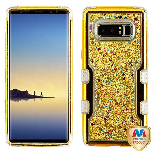 MyBat TUFF Quicksand Glitter Hybrid Protector Cover for Samsung Galaxy Note 8 - Gold Electroplating / Gold Sparkles Liquid Flowing