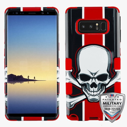 MyBat TUFF Hybrid Protector Cover [Military-Grade Certified] for Samsung Galaxy Note 8 - UnionJackSkull / Red