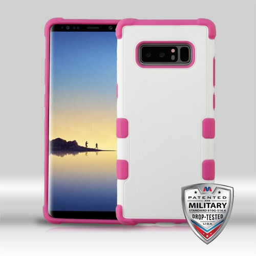 MyBat TUFF Merge Hybrid Protector Cover [Military-Grade Certified] for Samsung Galaxy Note 8 - Natural Cream White / Hot Pink