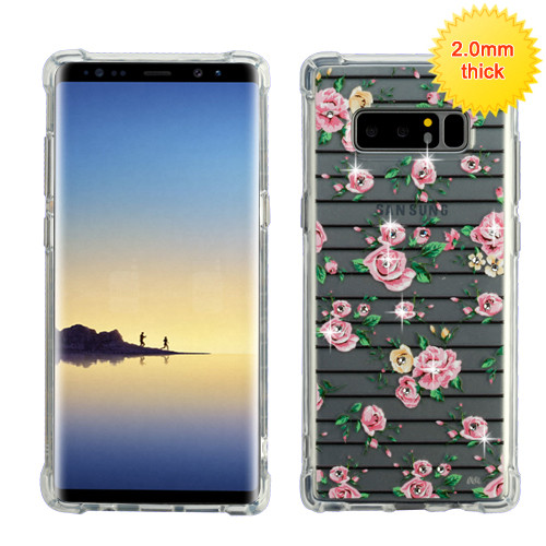 MyBat Klarity Premium Candy Skin Cover (with Diamonds) for Samsung Galaxy Note 8 - Pink Fresh Roses Glassy