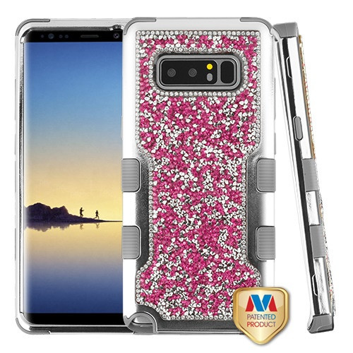 MyBat TUFF Vivid Hybrid Protector Cover for Samsung Galaxy Note 8 - Silver Plating Frame+Hot Pink Mini Crystals Back / Iron Gray