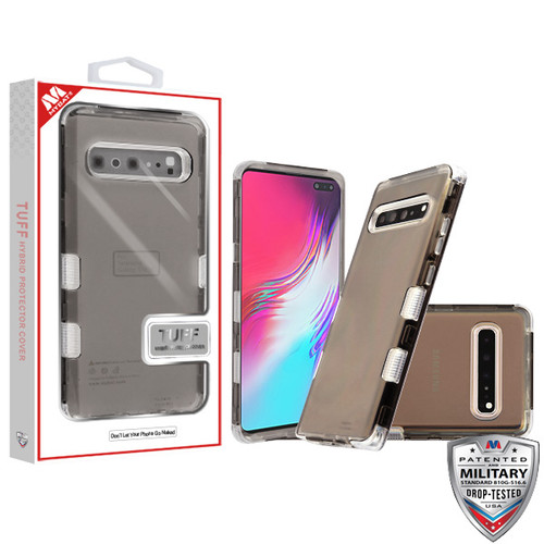 MyBat TUFF Lucid Hybrid Protector Cover [Military-Grade Certified] for Samsung Galaxy S10 5G - Transparent Smoke / Transparent Clear