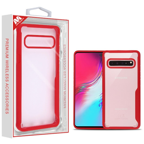 MyBat Vista Hybrid Protector Cover for Samsung Galaxy S10 5G - Transparent Clear / Red