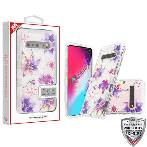 MyBat TUFF Lucid Hybrid Protector Cover [Military-Grade Certified] for Samsung Galaxy S10 5G - Transparent Clear / Purple Stargazers