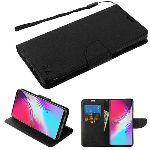 MyBat Liner MyJacket Wallet Crossgrain Series for Samsung Galaxy S10 5G - Black Pattern / Black