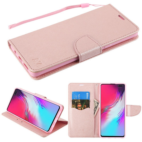 MyBat Liner MyJacket Wallet Crossgrain Series for Samsung Galaxy S10 5G - Rose Gold Pattern / Rose Gold