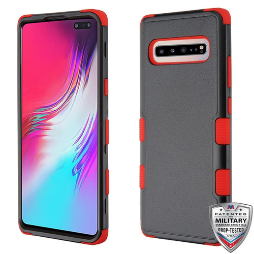 MyBat TUFF Hybrid Protector Cover [Military-Grade Certified] for Samsung Galaxy S10 5G - Natural Black / Red