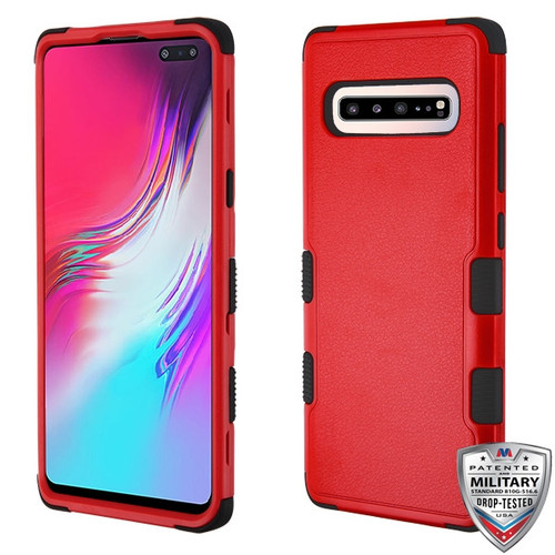 MyBat TUFF Hybrid Protector Cover [Military-Grade Certified] for Samsung Galaxy S10 5G - Natural Red / Black