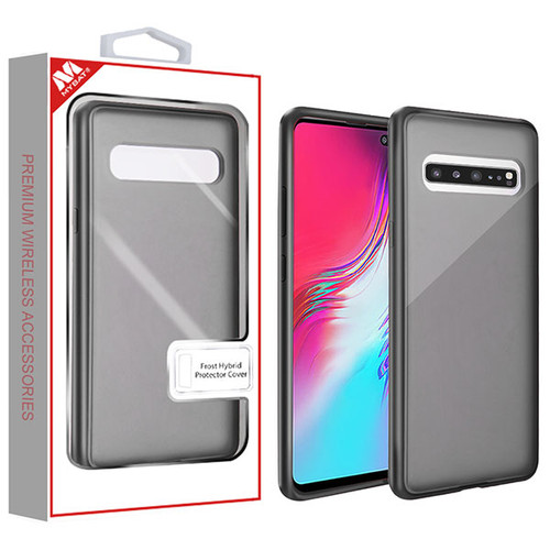 MyBat Frost Hybrid Protector Cover for Samsung Galaxy S10 5G - Semi Transparent Smoke Frosted / Rubberized Black