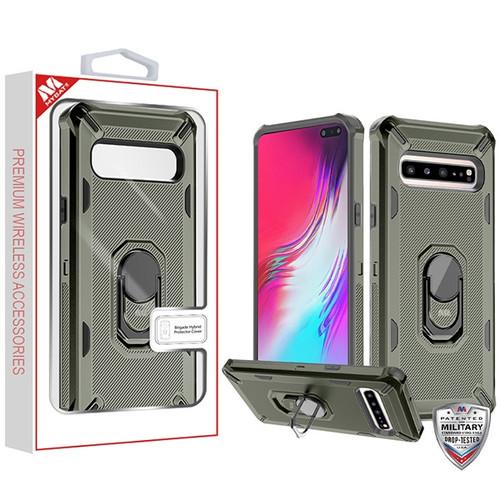 MyBat Brigade Hybrid Protector Cover (with Ring Stand) for Samsung Galaxy S10 5G - Dark Grey / Black