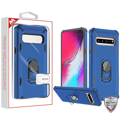 MyBat Brigade Hybrid Protector Cover (with Ring Stand) for Samsung Galaxy S10 5G - Ink Blue / Black