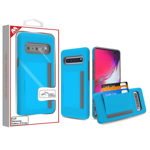 MyBat Poket Hybrid Protector Cover (with Back Film) for Samsung Galaxy S10 5G - Blue / Gray