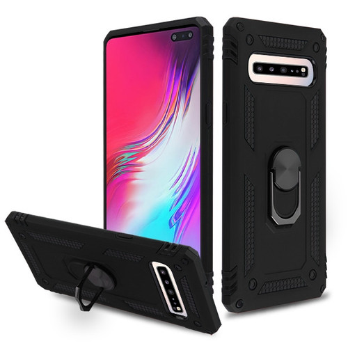 MyBat Anti-Drop Hybrid Protector Cover (with Ring Stand) for Samsung Galaxy S10 5G - Black / Black