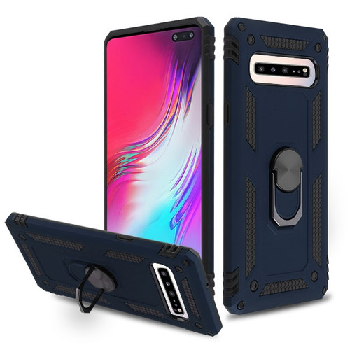 MyBat Anti-Drop Hybrid Protector Cover (with Ring Stand) for Samsung Galaxy S10 5G - Ink Blue / Black