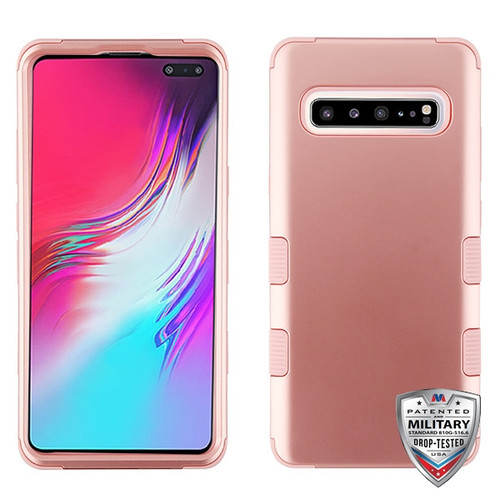 MyBat TUFF Hybrid Protector Cover [Military-Grade Certified] for Samsung Galaxy S10 5G - Rose Gold / Rose Gold