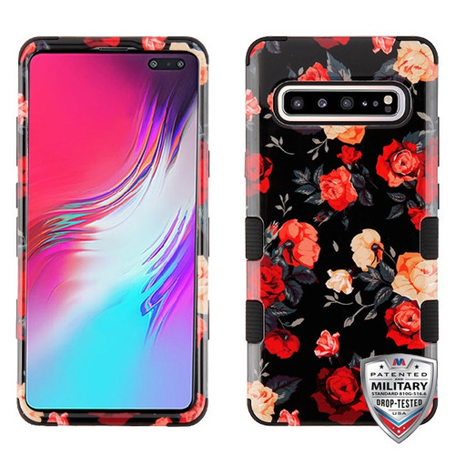 MyBat TUFF Hybrid Protector Cover [Military-Grade Certified] for Samsung Galaxy S10 5G - Red and White Roses / Black