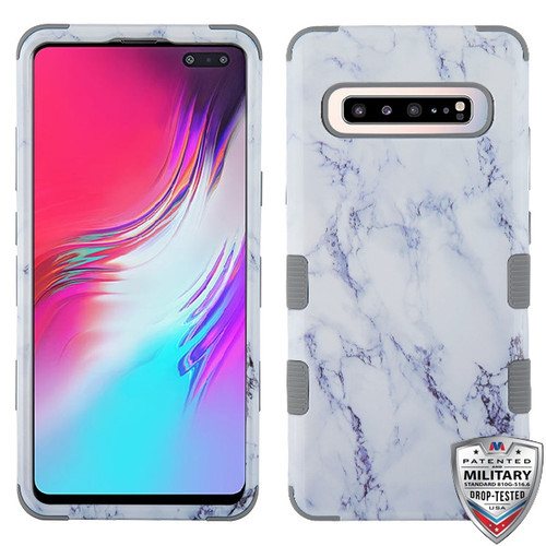 MyBat TUFF Hybrid Protector Cover [Military-Grade Certified] for Samsung Galaxy S10 5G - White Marbling / Iron Gray