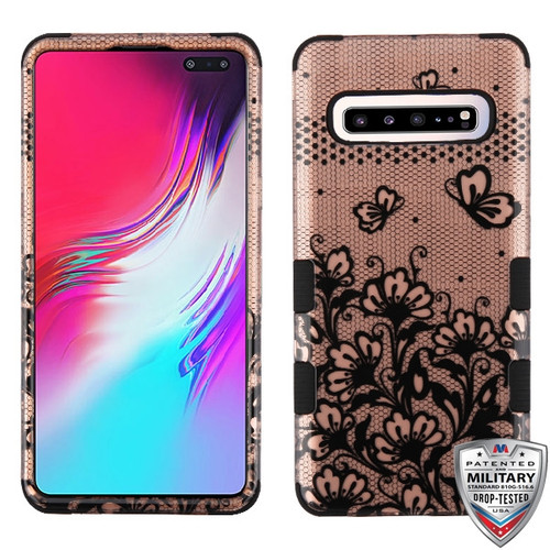 MyBat TUFF Hybrid Protector Cover [Military-Grade Certified] for Samsung Galaxy S10 5G - Black Lace Flowers (2D Rose Gold) / Black