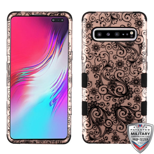 MyBat TUFF Hybrid Protector Cover [Military-Grade Certified] for Samsung Galaxy S10 5G - Black Four-Leaf Clover (2D Rose Gold) / Black