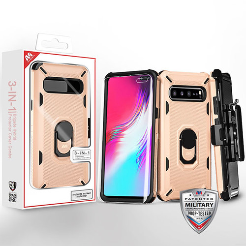 MyBat 3-in-1 Brigade Hybrid Protector Cover Combo (with Black Holster)(with Ring Stand)(with Full-coverage Screen Protector) for Samsung Galaxy S10 5G - Rose Gold / Black